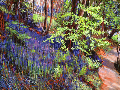 Plain Air Painting - Blue Wildflowers Pathway by David Lloyd Glover