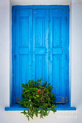Greek Photograph - Blue Window by Inge Johnsson