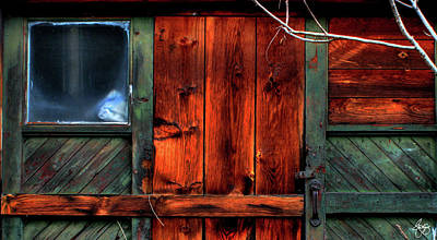 Photograph - Blue Window On A Weathered Door by Wayne King
