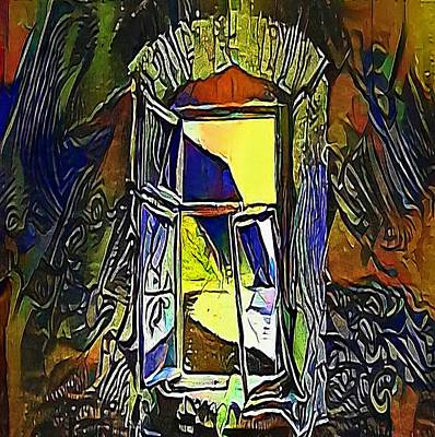 blue window - My WWW vikinek-art.com Art Print by Viktor Lebeda