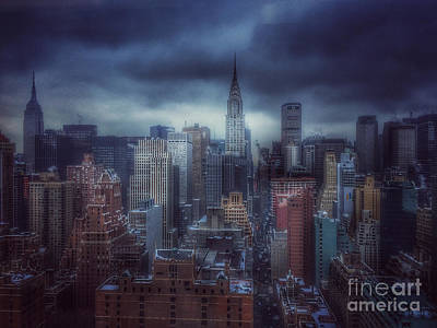 Photograph - Blue Winds Of Winter - Skyline Of New York by Miriam Danar