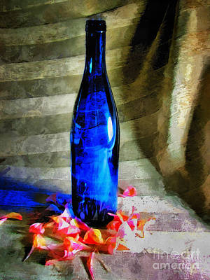 Photograph - Blue Wine Bottle by Todd Blanchard