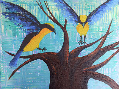 Painting - Blue-winged Mountain Tanagers by Patricia Beebe