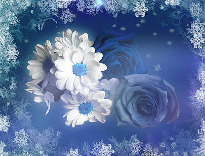 Photograph - Blue Winter Bouquet With Snow And Stars by Johanna Hurmerinta