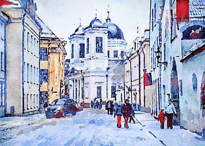 Digital Art - Blue Winter In Town by Yury Malkov