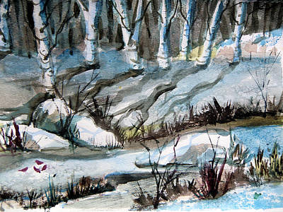 Snowy Brook Painting - Blue Winter by Mindy Newman