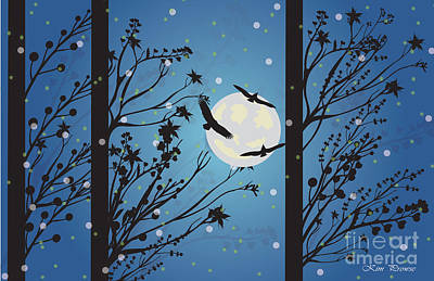 Art Print featuring the digital art Blue Winter Moon by Kim Prowse