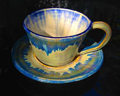 Ceramic Art - Blue With Northern Lights Teacup And Saucer by Polly Castor