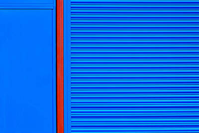 Minimalist Photograph - Blue With Red Stripe by Stuart Allen