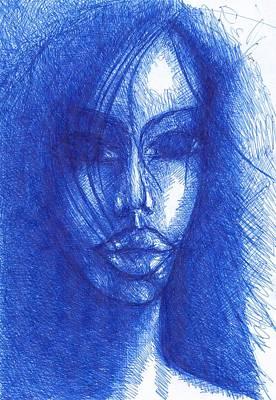 Creativity Drawing - Blue by Wojtek Kowalski