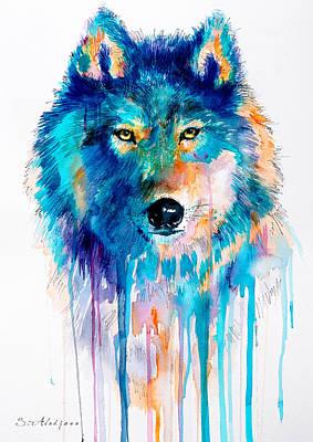 Wolf Watercolor Painting - Blue Wolf by Slavi Aladjova
