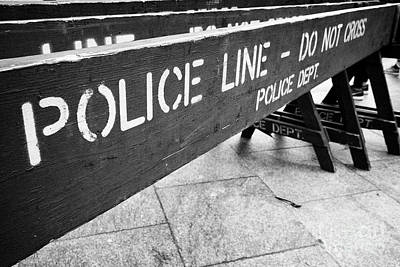 blue wooden police line do not cross nypd crowd traffic barrier New York City USA Art Print