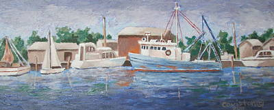 Painting - Blue Work Boat by Tony Caviston