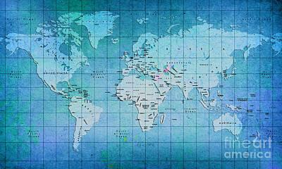 Blue World Map  Original by Gull G