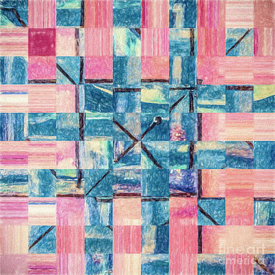 Mixed Media - Blue Woven By Pink by Liz Leyden