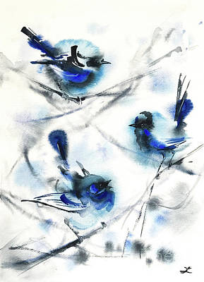 Painting - Blue Wrens by Zaira Dzhaubaeva
