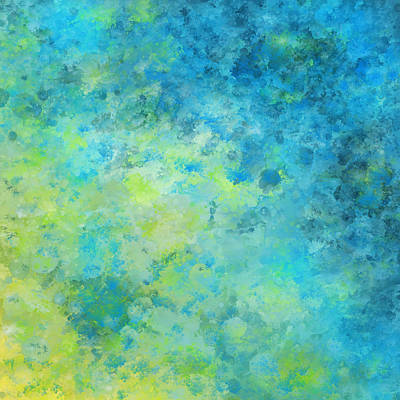 Painting - Blue Yellow Abstract Beach Fizz by Michelle Wrighton