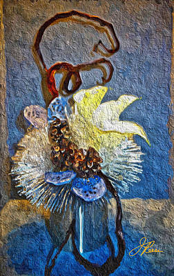 Painting - Blue Yellow Floral Design by Joan Reese