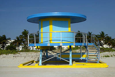 Photograph - Blue Yellow Miami Beach Hut by Art America Gallery Peter Potter