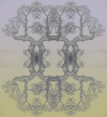 Digital Art - Blue Yellow Tree 14 Hybrid 4 by Brian Kirchner