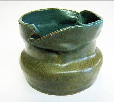 Biloxi Pottery Ceramic Art - Blue Ziggle Pot by Vernon Nix