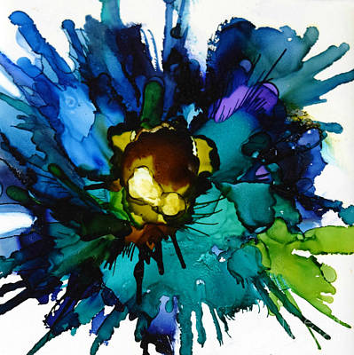 Alcohol Ink Wall Art - Painting - Blue Zinnia Margarita by Marla Beyer