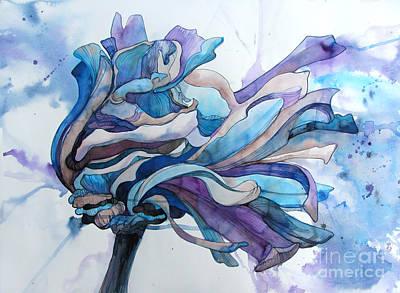 Zinnia Painting - Blue Zinnia by Wendy Westlake