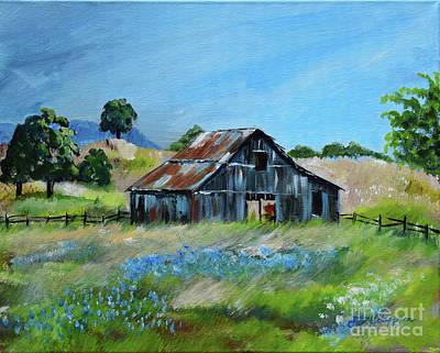 Painting - Bluebell Barn - Rustic Bar - Bluebellsn by Jan Dappen