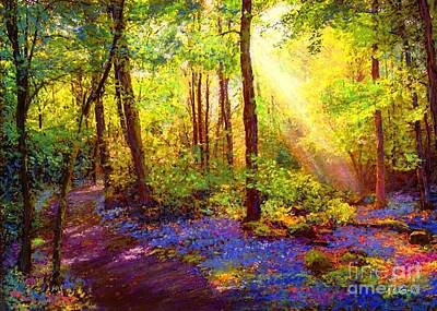 Contemporary Forest Painting - Bluebell Blessing by Jane Small