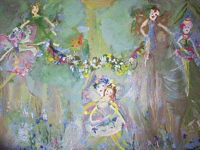 Art Print featuring the painting Bluebell Fairies by Judith Desrosiers