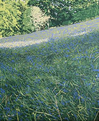 Fauna Painting - Bluebell Knoll by Malcolm Warrilow