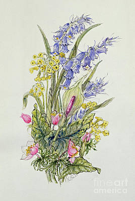Bluebell Posy With Cowslips, Dogroses And Lily Art Print