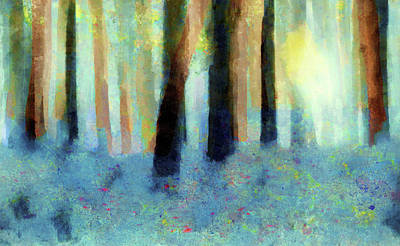 Bluebell Wood-abstract Painting By V.kelly Art Print by Valerie Anne Kelly