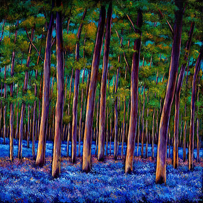 Colorful Landscape Painting - Bluebell Wood by Johnathan Harris
