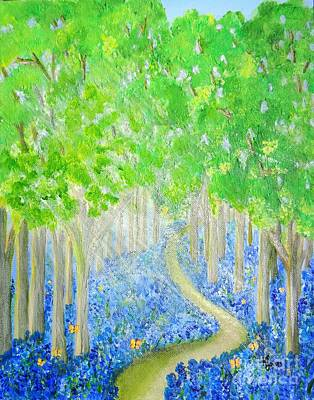 Bluebell Wood With Butterflies Art Print