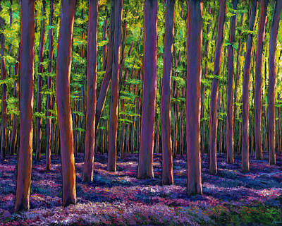 Vibrant Painting - Bluebells And Forest by Johnathan Harris