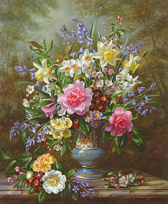 Bluebells Daffodils Primroses And Peonies In A Blue Vase Art Print