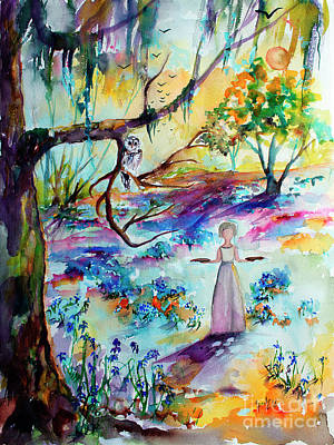 Painting - Bluebells Forest And Savannah Bird Girl Watercolor by Ginette Callaway
