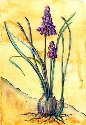 Spring Bulbs Painting - Bluebells by Mindy Newman