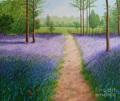 Painting - Bluebells With Butterflies by Julia Underwood