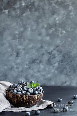 Photograph - Blueberries In A Coconut Bowl by Stephanie Frey