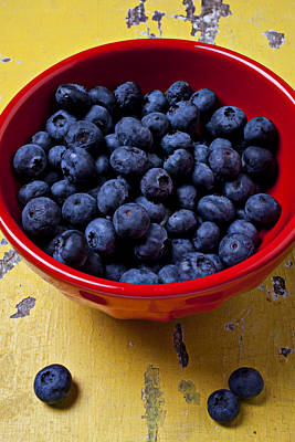 Blueberries In Red Bowl Art Print by Garry Gay