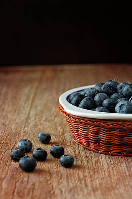 Table Photograph - Blueberries In Wicker Basket by © Brigitte Smith