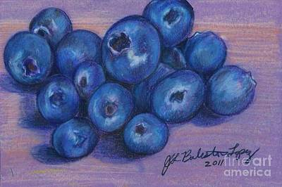 Blueberry Drawing - Blueberries by Jamey Balester