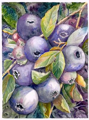Blueberries Art Print by KC Winters