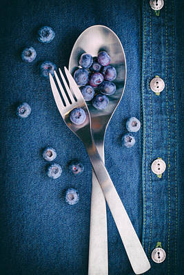 Table Setting Photograph - Blueberries On Denim II by Tom Mc Nemar