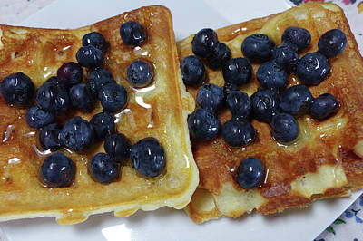 Photograph - Blueberries On Waffles by Adria Trail