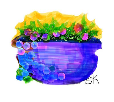 Blueberry Digital Art - Blueberries Over The Top by Sherry Killam