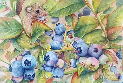 Blueberry Painting - Blueberries by Patricia Pushaw
