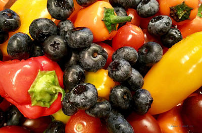 Photograph - Blueberries Tomatoes Sweet Peppers by Kume Bryant
